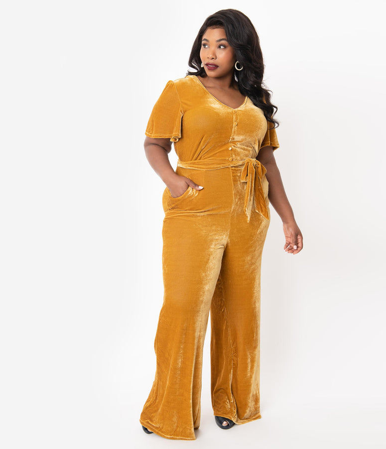 Unique Vintage Plus Size 1970s Mustard Yellow Velvet Short Sleeve Heddy Jumpsuit