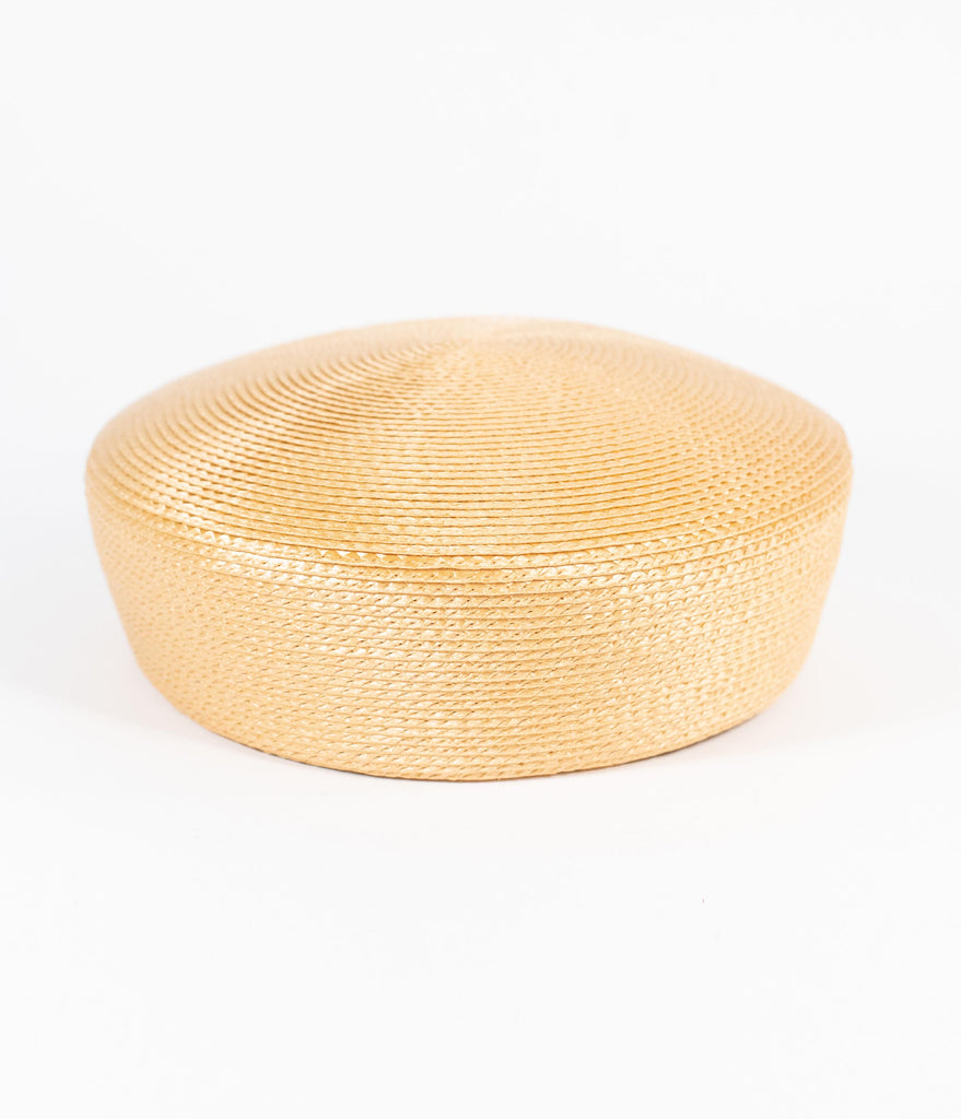 Unique Vintage 1950s Style Tan Braided Straw Pillbox Hat