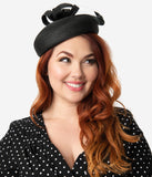 Unique Vintage 1950s Style Black Braided Straw Loop & Feather Pillbox Hat