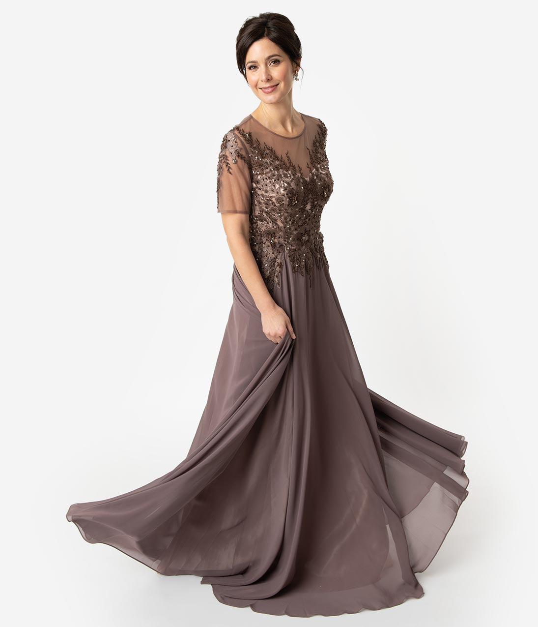 1940s Formal Dresses, Evening Gowns History Mocha Brown Sleeved Chiffon Crystal Embellished Long Dress $131.00 AT vintagedancer.com