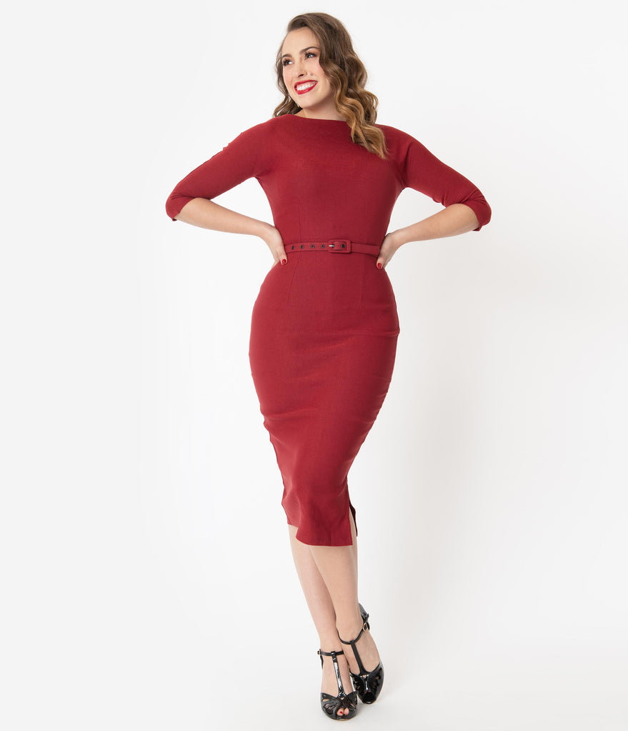 Unique Vintage 1940s Style Red Sleeved Adelia Wiggle Dress