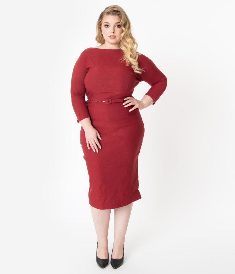 Unique Vintage Plus Size 1940s Style Red Sleeved Adelia Wiggle Dress