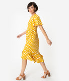 Retro Style Mustard & Ivory Polka Dot Butterfly Sleeve Midi Dress