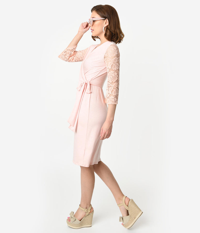 Vintage Style Blush Pink Lace Sleeved Faux Wrap Dress