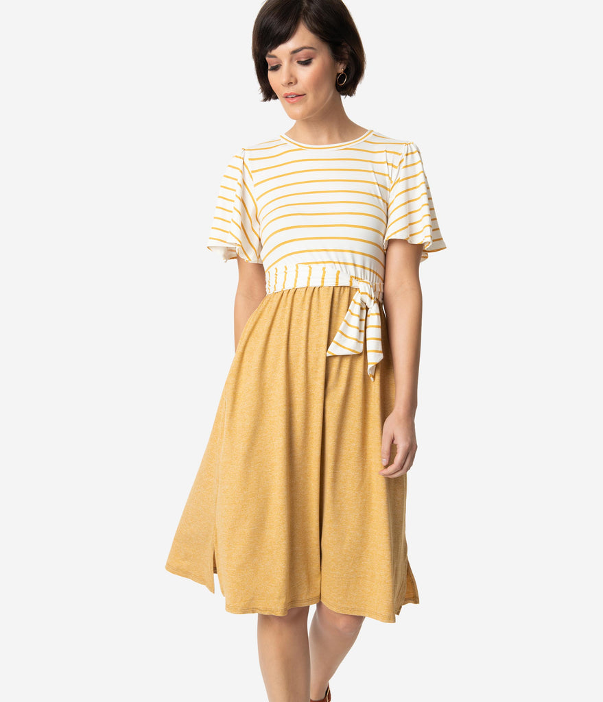 Retro Style Mustard Yellow & Ivory Stripe Short Sleeved Knit Dress