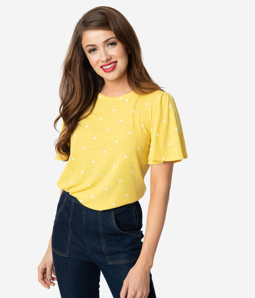 Banana Yellow & White Polka Dot Butterfly Sleeve Tunic