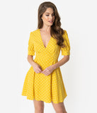 Retro Style Yellow & White Polka Dot Half Sleeve Fit & Flare Dress