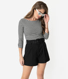 Retro Style Black High Waist Wide Belt Pleated Shorts