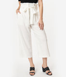 Retro Style Off White High Waist Paperbag Mae Capri Pants