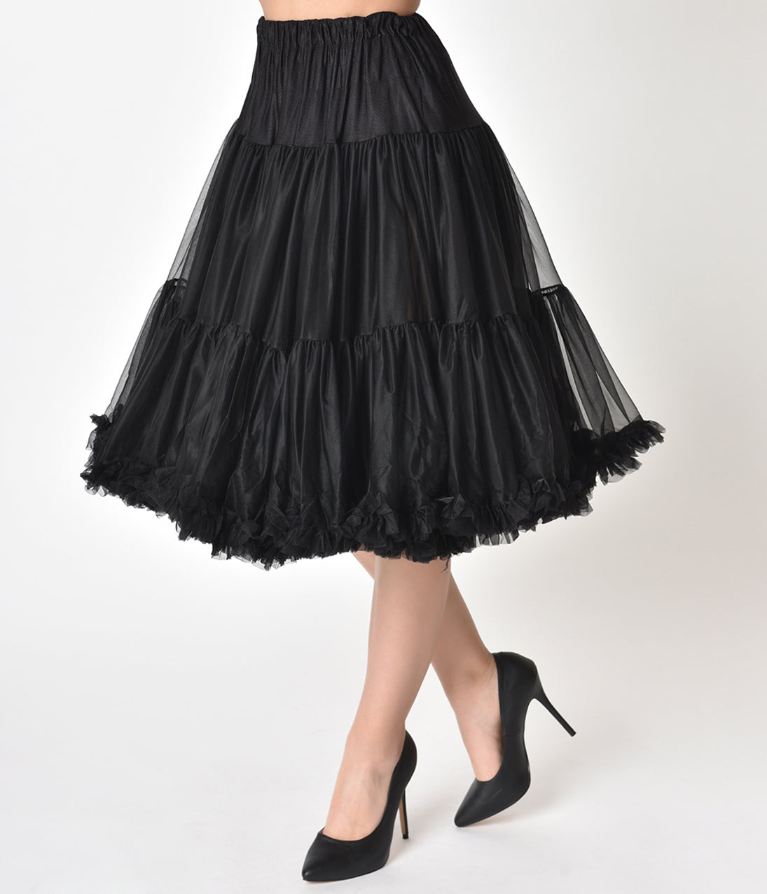 50s Skirt Styles | Poodle Skirts, Circle Skirts, Pencil Skirts 1950S Style Black Tea Length Ruffled Chiffon Petticoat Crinoline $68.00 AT vintagedancer.com