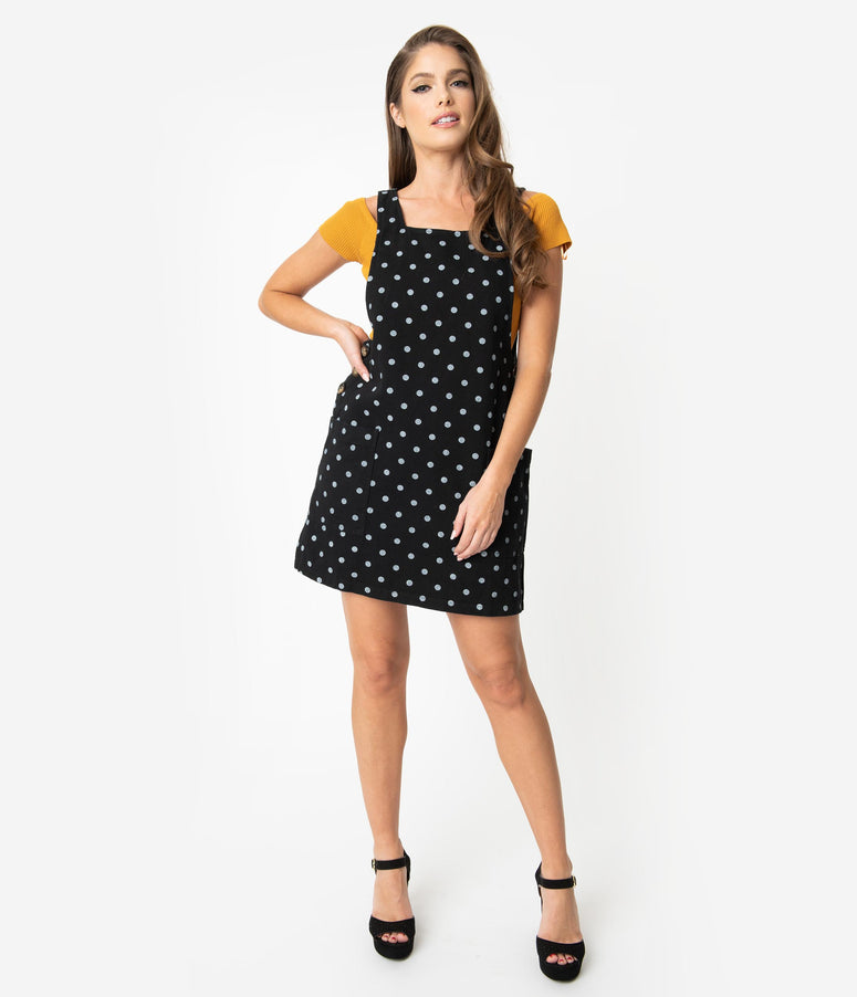Black & Ivory Polka Dot Cotton Mini Jumper Dress