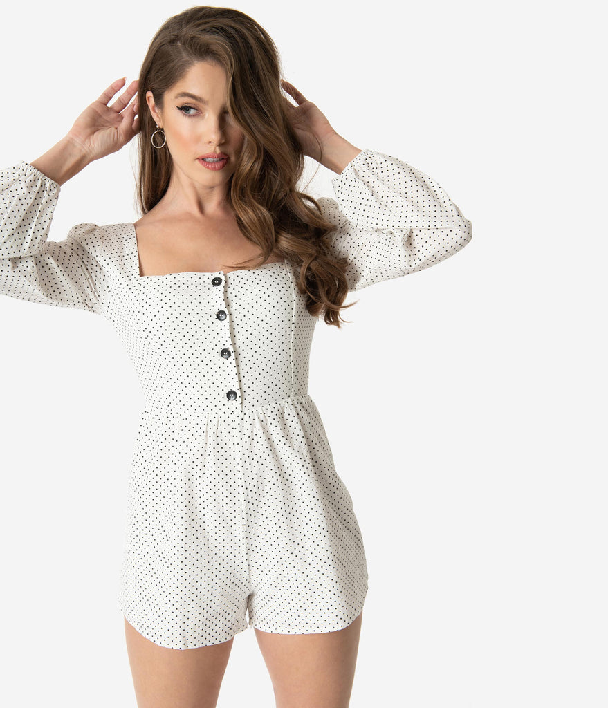 White & Black Pin Dot Cotton Long Sleeve Romper