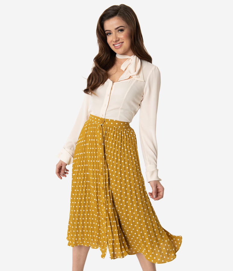 Spicy Mustard & Ivory Polka Dot Pleated High Waist Midi Skirt