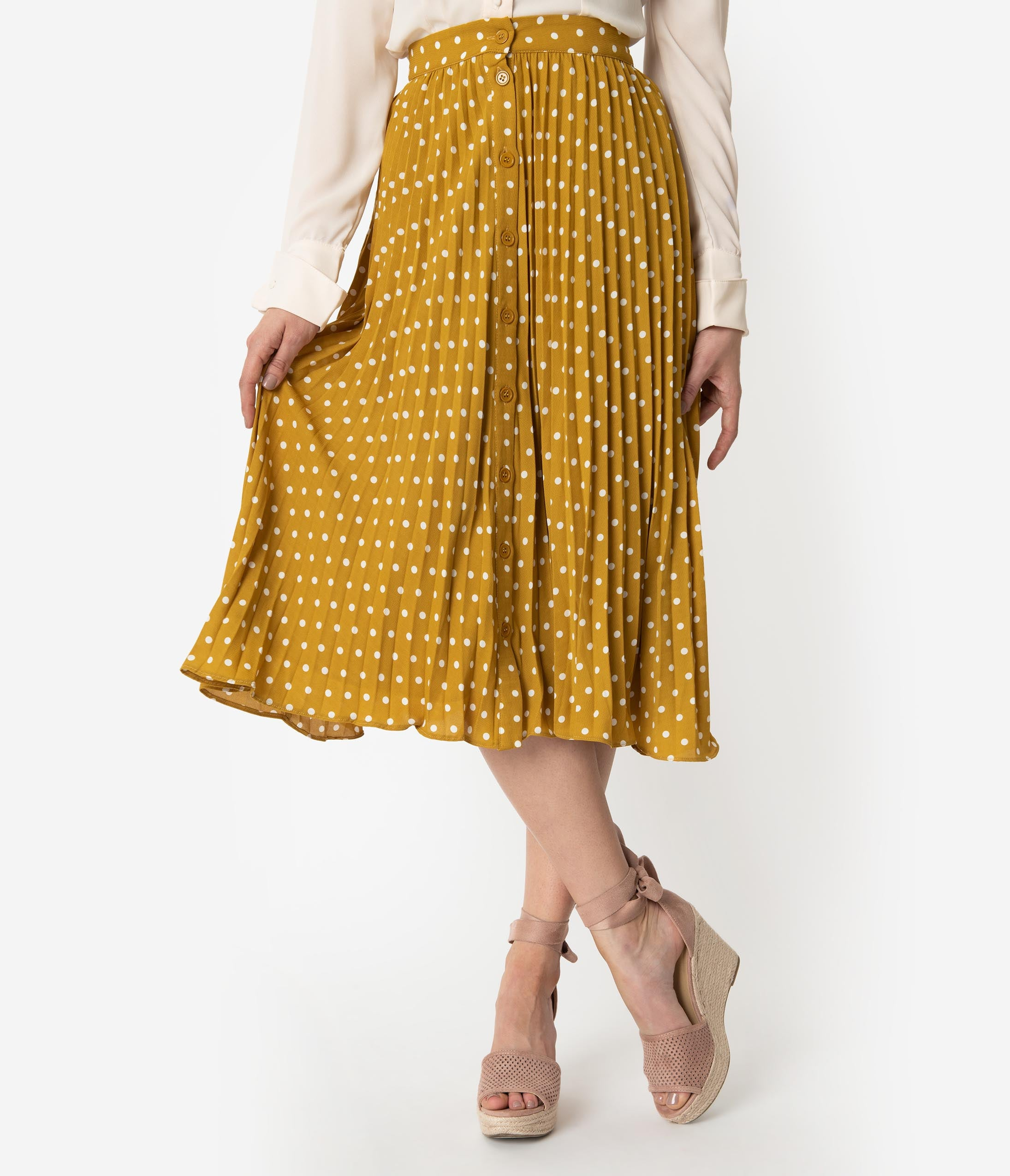 2b2fb42fd55017 Spicy Mustard & Ivory Polka Dot Pleated High Waist Midi Skirt – Unique  Vintage