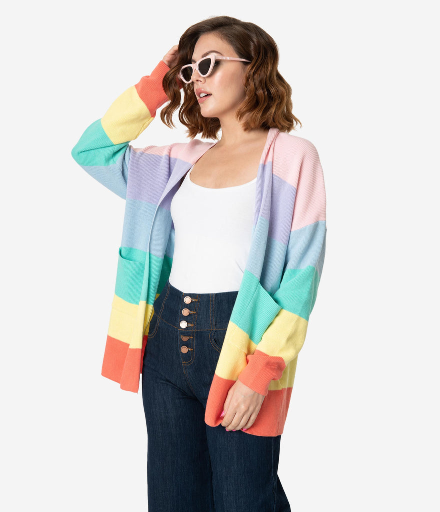 Rainbow Stripe Cotton Knit Open Cardigan