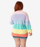 Plus Size Rainbow Stripe Cotton Knit Open Cardigan