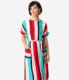 Retro Style Teal & Red Striped Short Sleeve Midi Dress