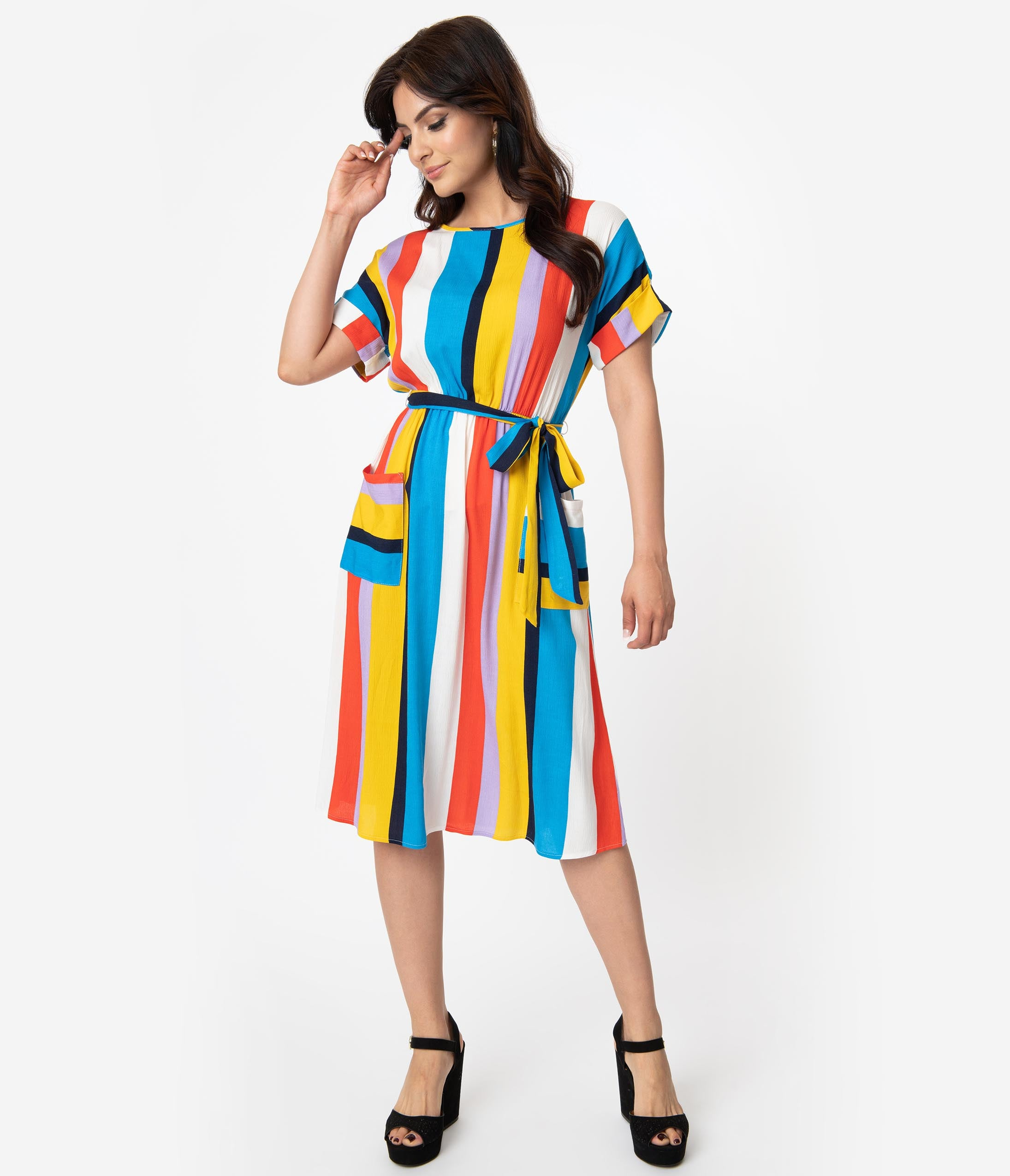 Swing Dance Dresses | Lindy Hop Dresses & Clothing Retro Style Blue  Yellow Striped Short Sleeve Midi Dress $35.00 AT vintagedancer.com