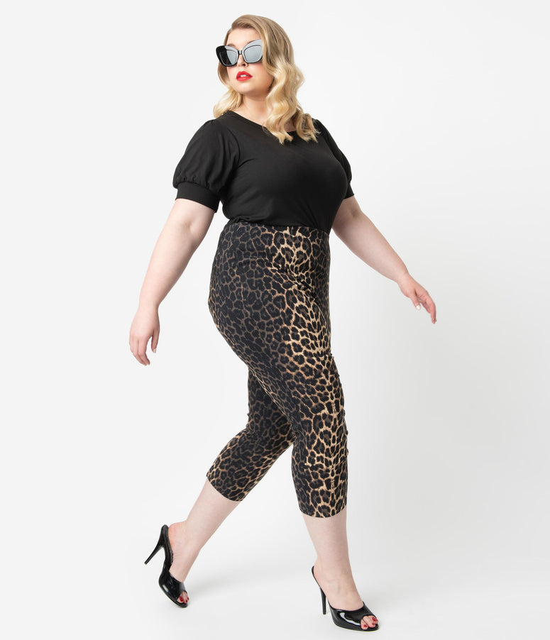 Hell Bunny Plus Size 1950s Style Leopard Print Panthera Capri Pants