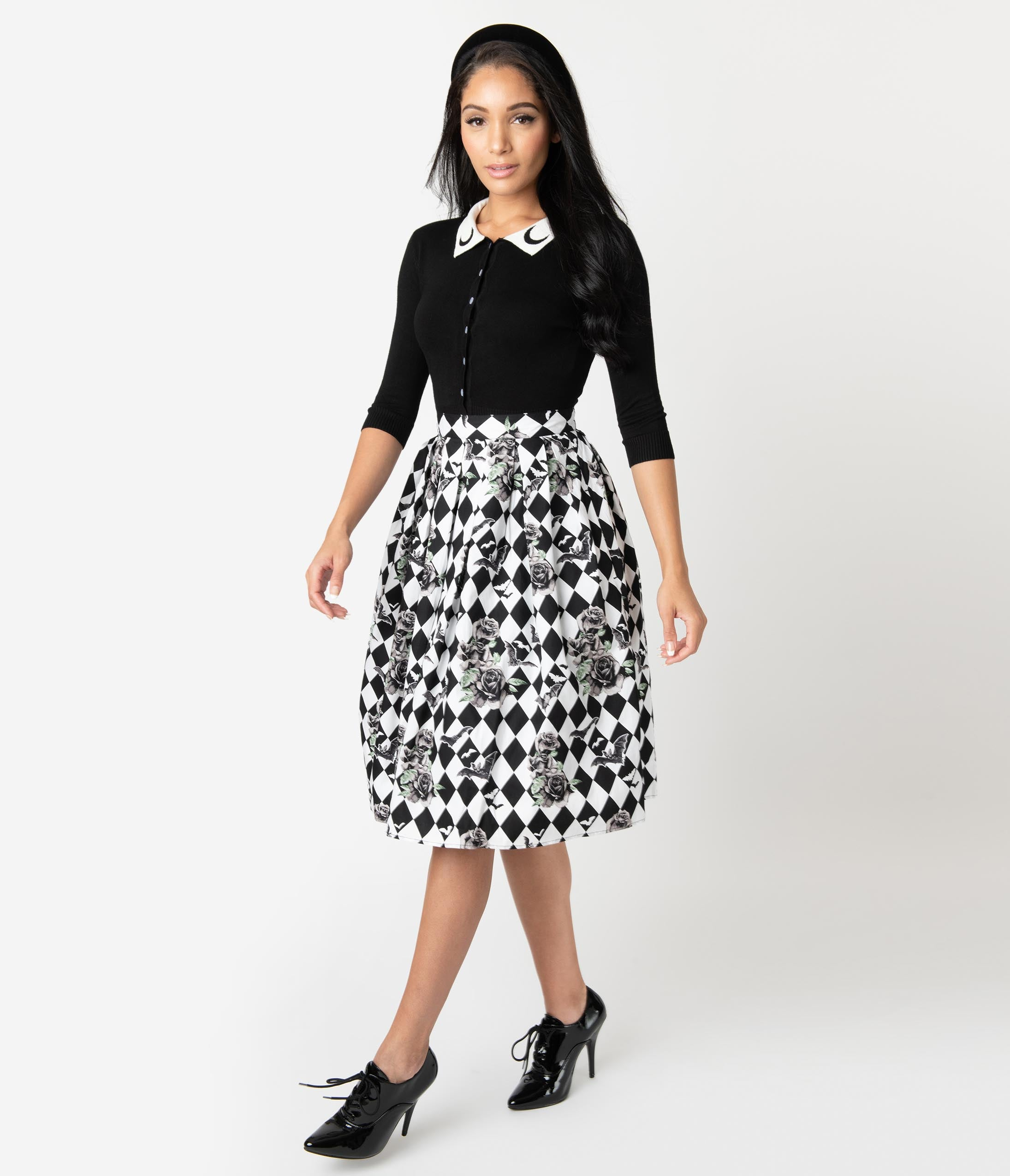 50 Vintage Halloween Costume Ideas Hell Bunny 1950S Black  White Checkered Hauntley Swing Skirt $54.00 AT vintagedancer.com