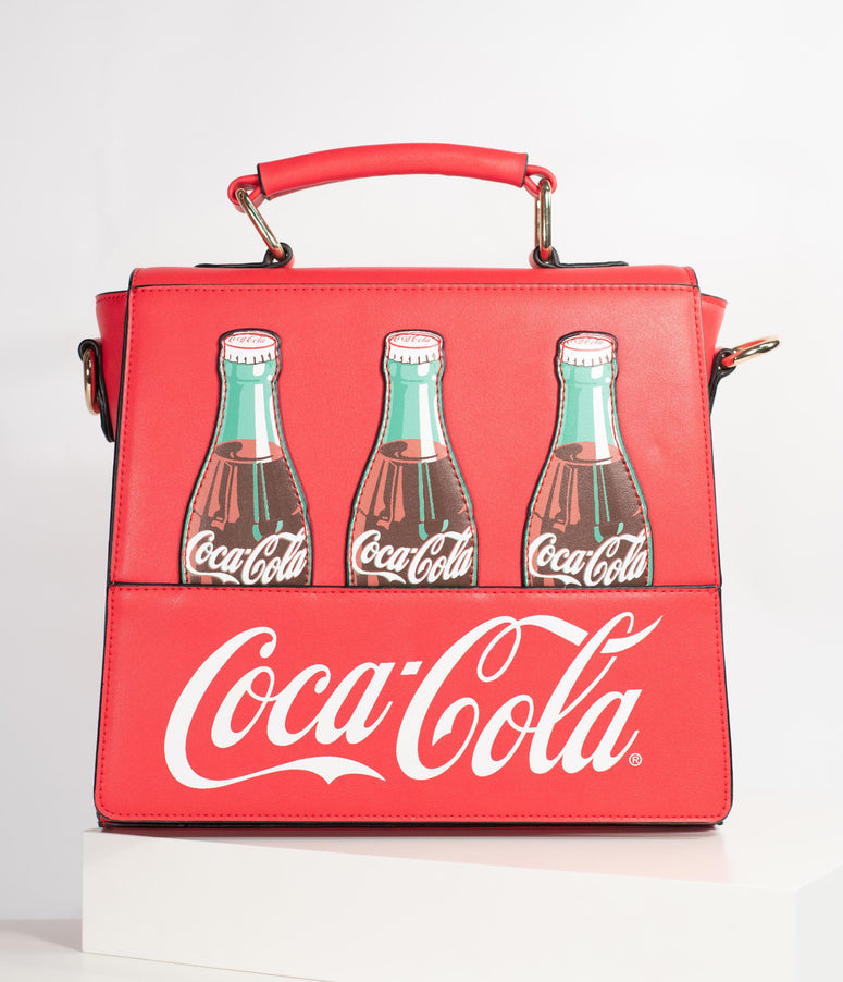 Coca-Cola Collection by Unique Vintage Red Leatherette Classic Coke Bottle Purse