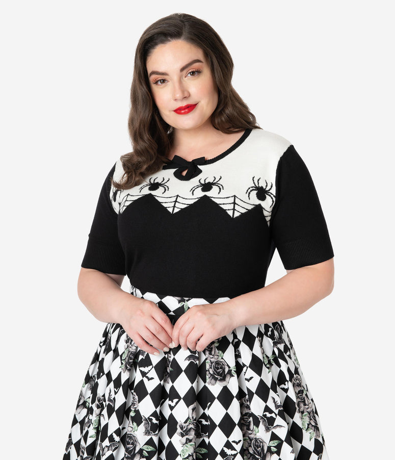 Hell Bunny Plus Size Black & Ivory Itsy Bitsy Spider Knit Sweater