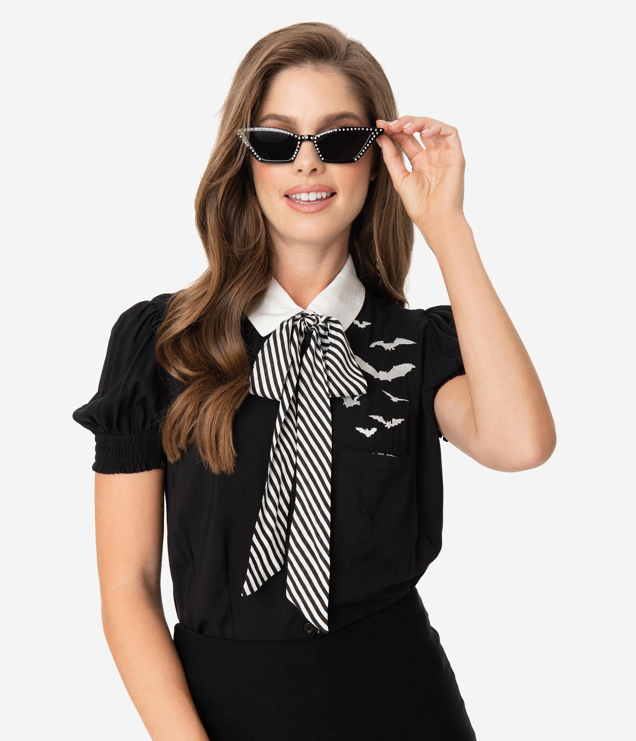Vintage Retro Halloween Themed Clothing Hell Bunny 1950S Style Black  White Stripe Bow Tie Trixie Blouse $58.00 AT vintagedancer.com