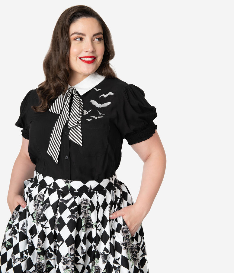 8ea9cfd2f7999 Hell Bunny Plus Size 1950s Style Black & White Stripe Bow Tie Trixie Blouse