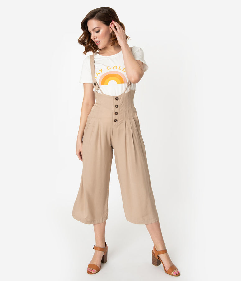 dfd8c991ac8 1930s Style Taupe Suspender Culotte Jumpsuit