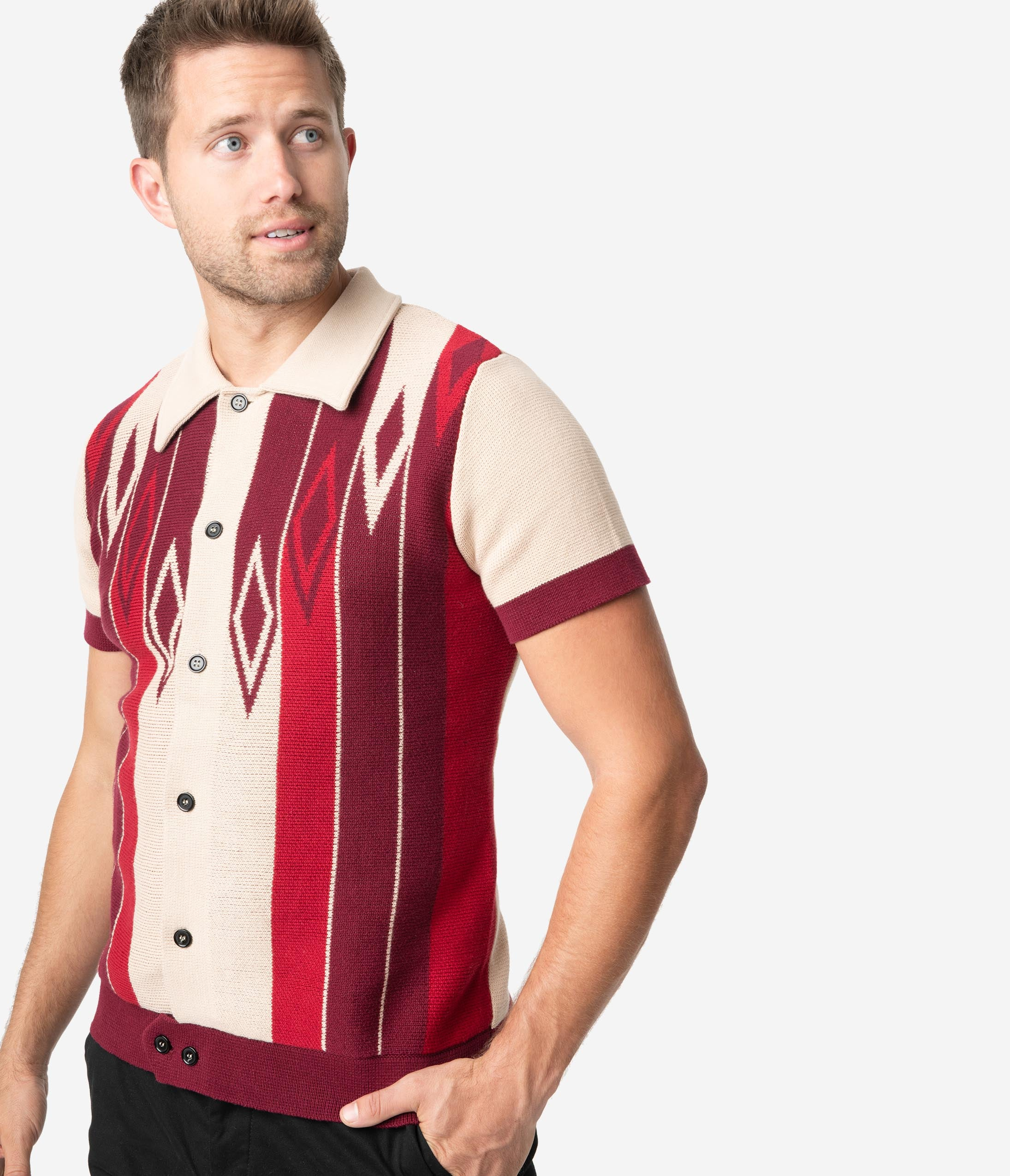 Mens Vintage Shirts – Casual, Dress, T-shirts, Polos Collectif 1960S Tan  Burgundy Luca Diamond Knit Short Sleeve Mens Cardigan $52.00 AT vintagedancer.com