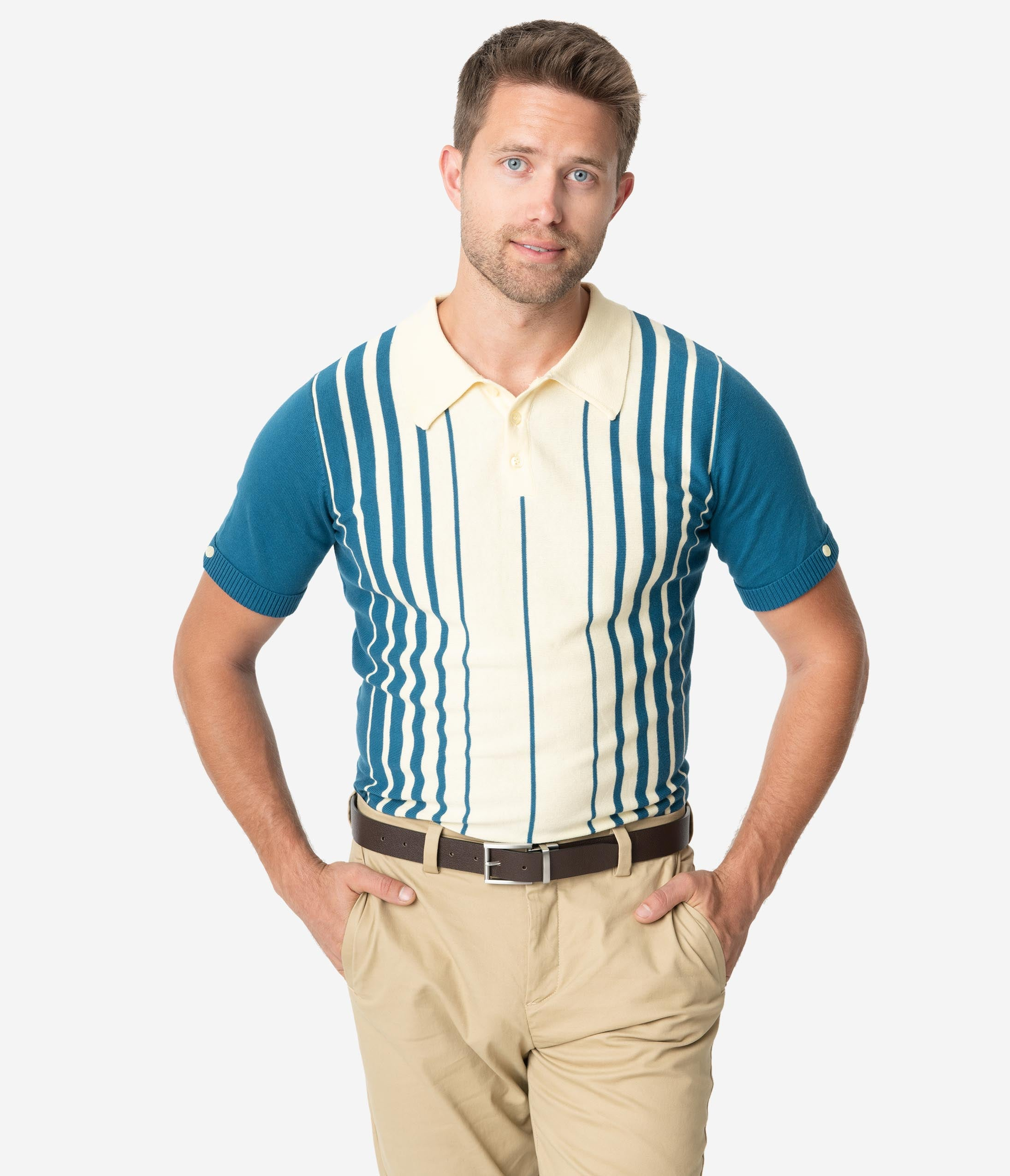 Downton Abbey Men's Fashion Guide Collectif 1960S Blue  Cream Stripe Short Sleeve Knit Pablo Mens Polo Shirt $48.00 AT vintagedancer.com