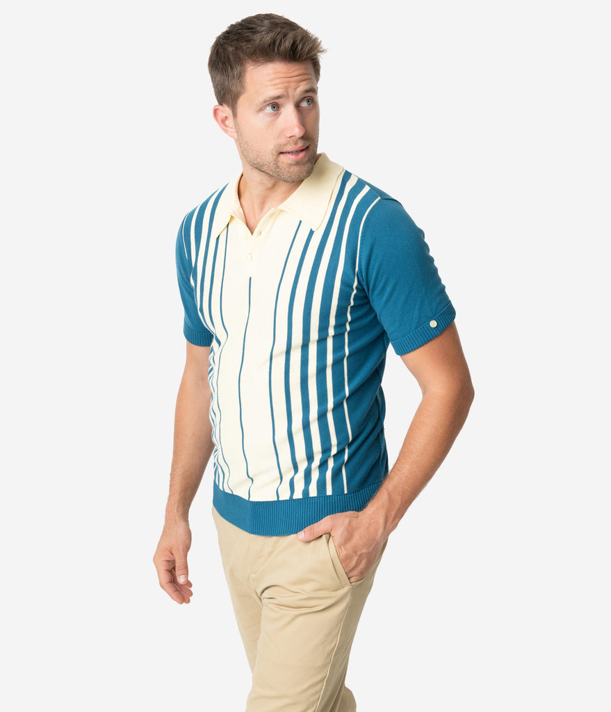 Collectif 1960s Blue & Cream Stripe Short Sleeve Knit Pablo Mens Polo Shirt