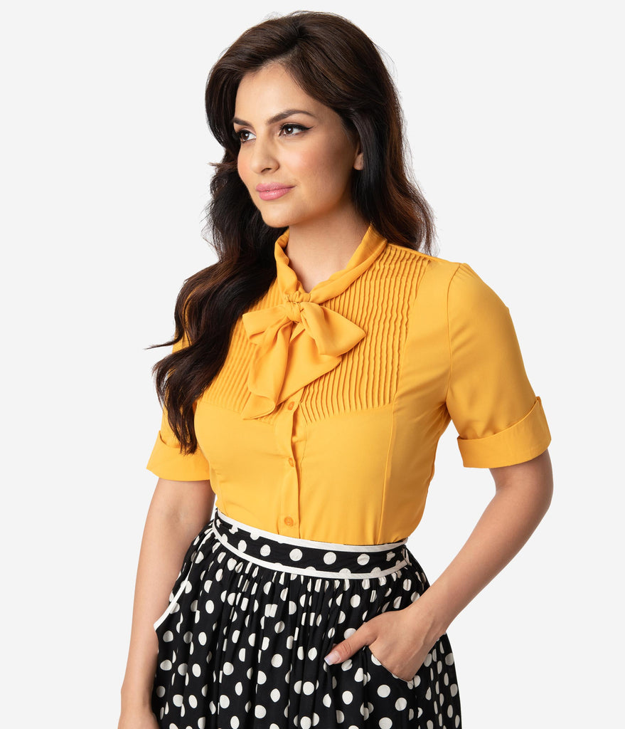 d1fe405bfc ... 1940s Style Mustard Yellow Chiffon Short Sleeve Neck Tie Blouse ...