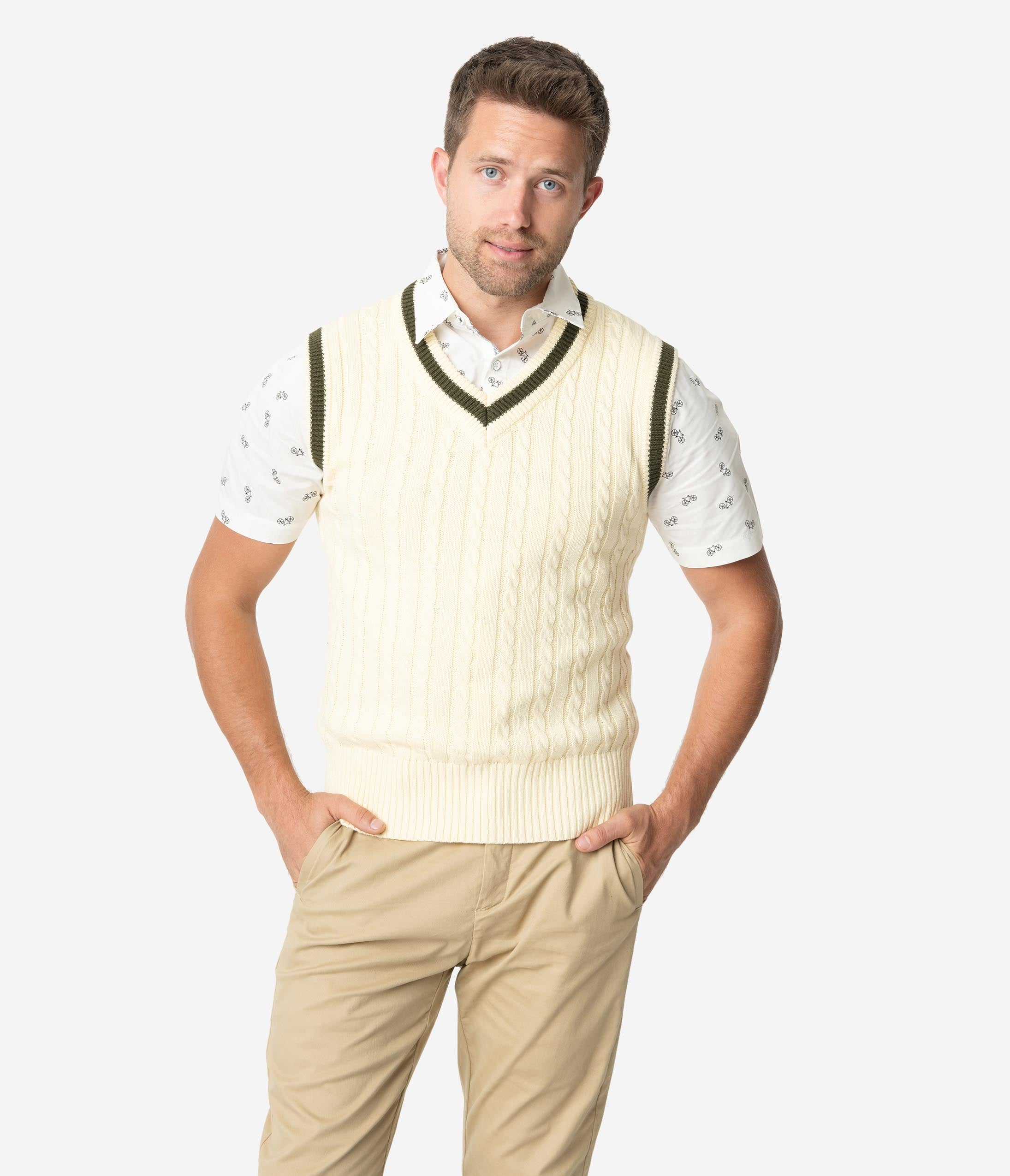 Retro Clothing for Men | Vintage Men's Fashion Collectif 1950S Cream Cable Knit Alex Mens Sweater Vest $48.00 AT vintagedancer.com