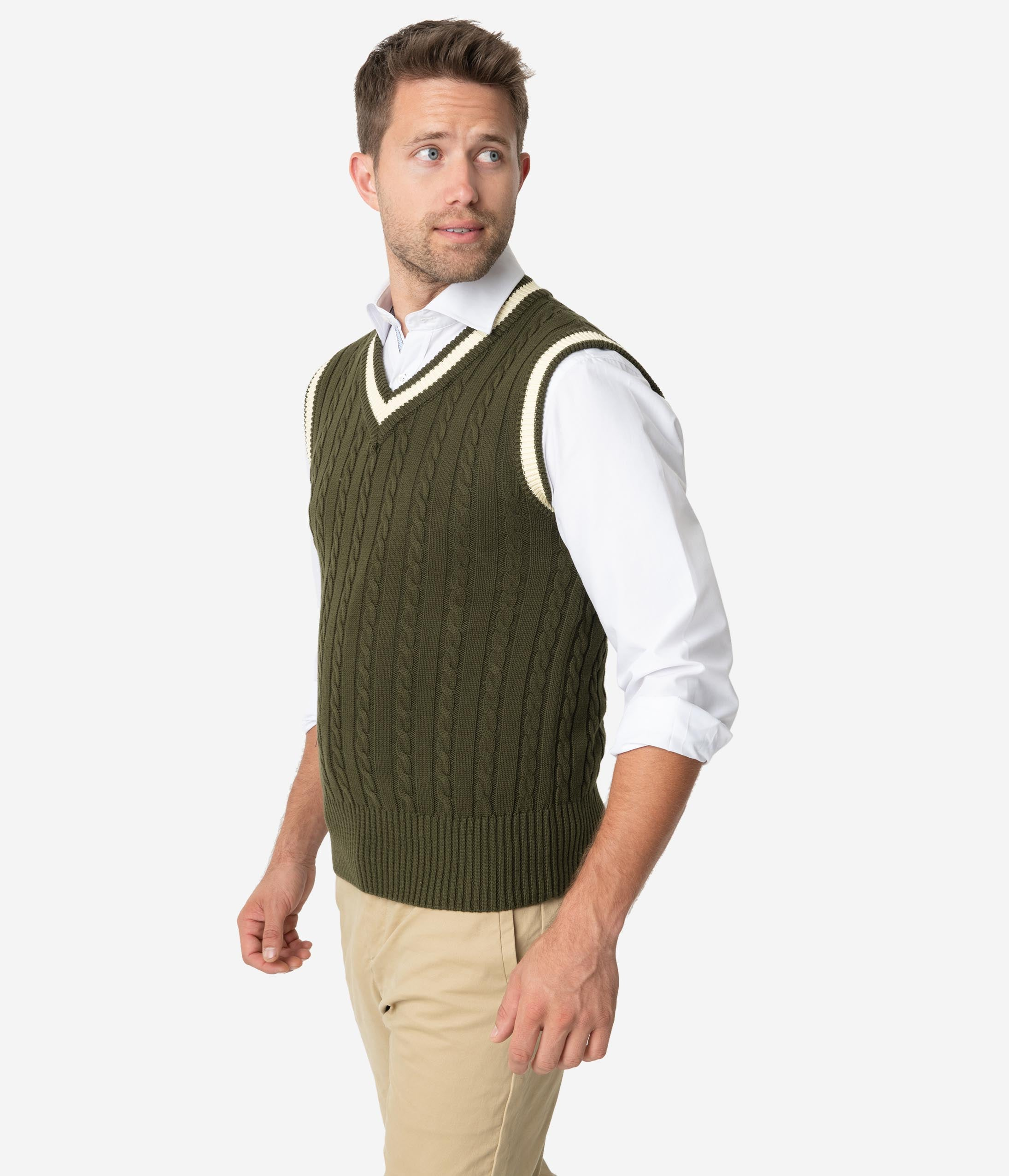 Men's Vintage Sweaters – 1920s to 1960s Retro Jumpers Collectif 1950S Olive Green Cable Knit Alex Mens Sweater Vest $48.00 AT vintagedancer.com