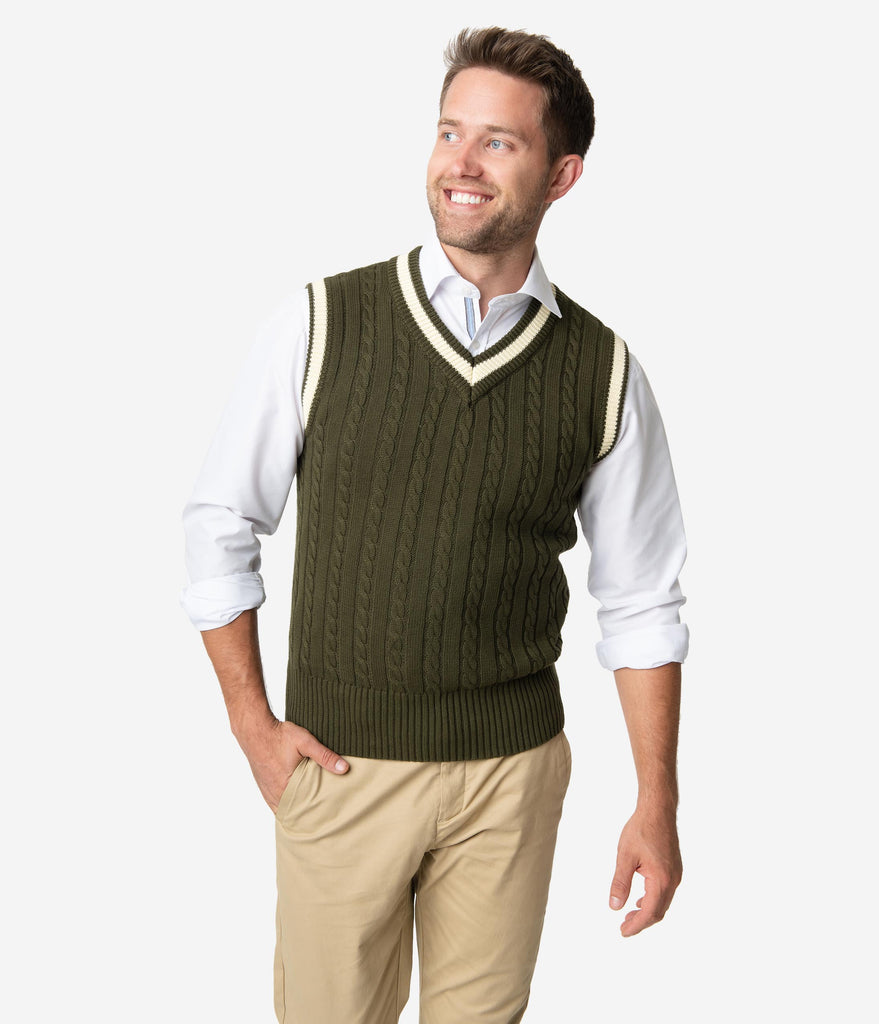 Collectif 1950s Olive Green Cable Knit Alex Mens Sweater Vest