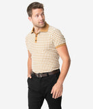 Collectif 1960s Mustard Houndstooth Short Sleeve Pablo Mens Polo Shirt