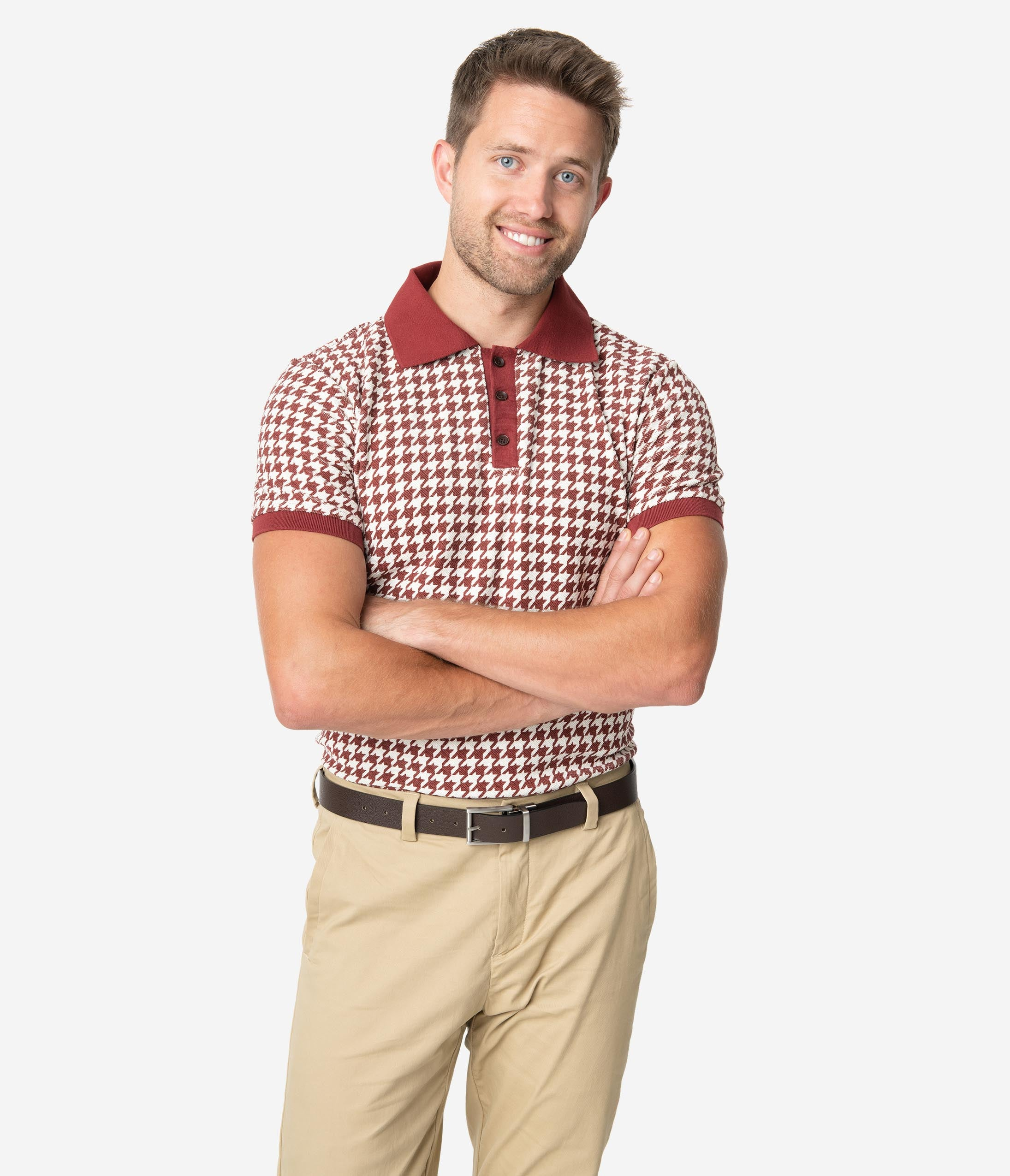 1950s Men's Clothing Collectif 1960S Burgundy Houndstooth Short Sleeve Pablo Mens Polo Shirt $48.00 AT vintagedancer.com