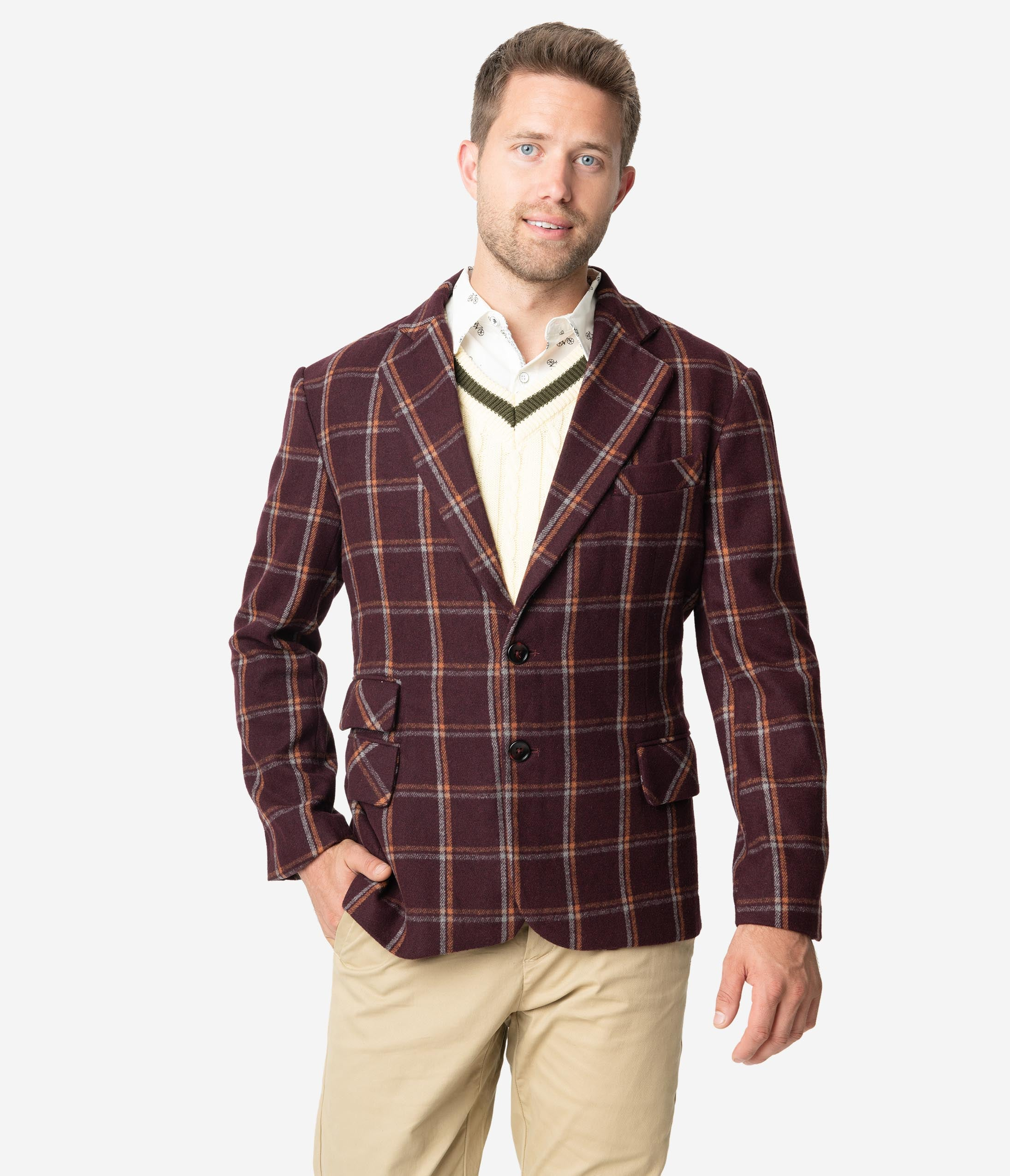 Men's Vintage Style Coats and Jackets Collectif 1960S Burgundy John Check Mens Blazer $78.00 AT vintagedancer.com