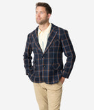 Collectif 1960s Navy Blue John Check Mens Blazer
