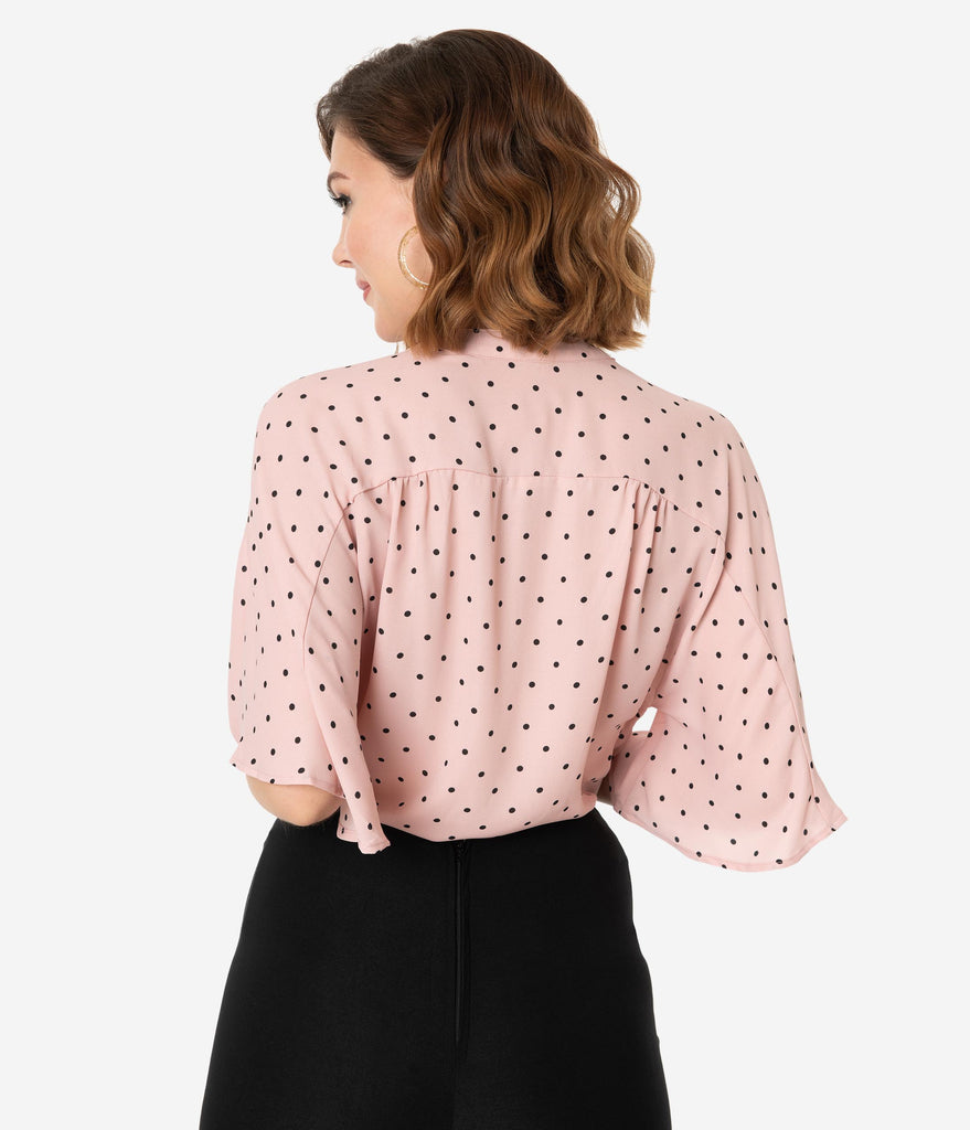 4d132a6efc4903 ... Vintage Style Pink & Black Polka Dot Butterfly Sleeve Crop Blouse ...