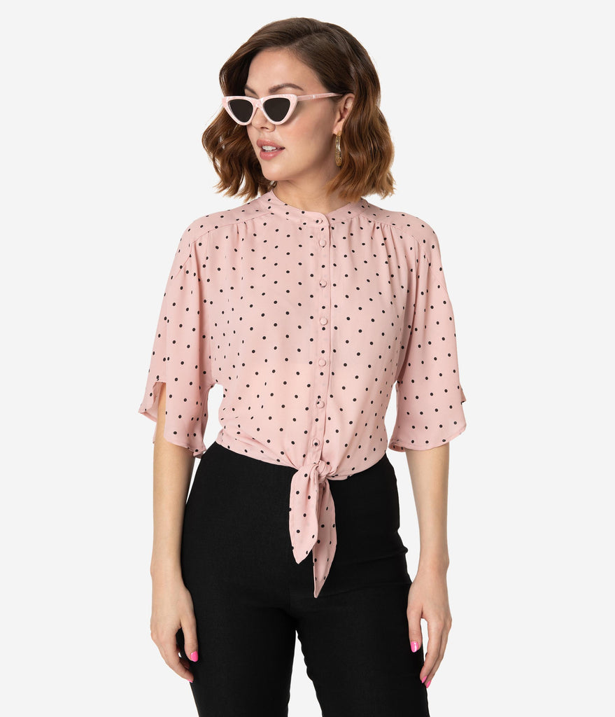Vintage Style Pink & Black Polka Dot Butterfly Sleeve Crop Blouse