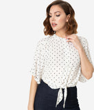 Vintage Style White & Black Polka Dot Butterfly Sleeve Crop Blouse