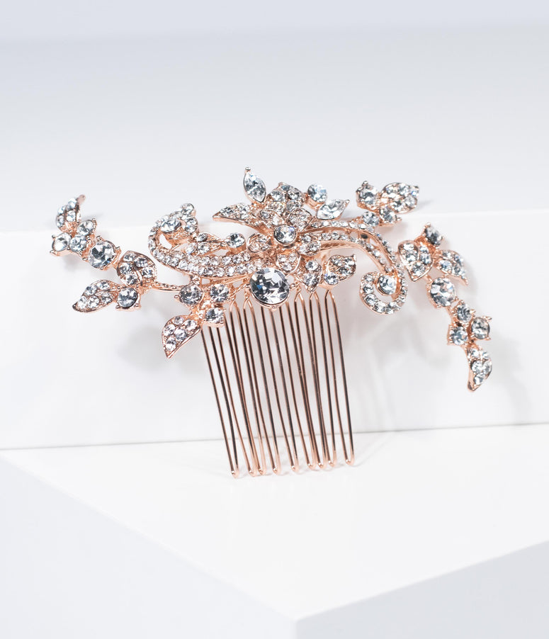 Vintage Style Rose Gold & Silver Swirl Rhinestone Hair Comb
