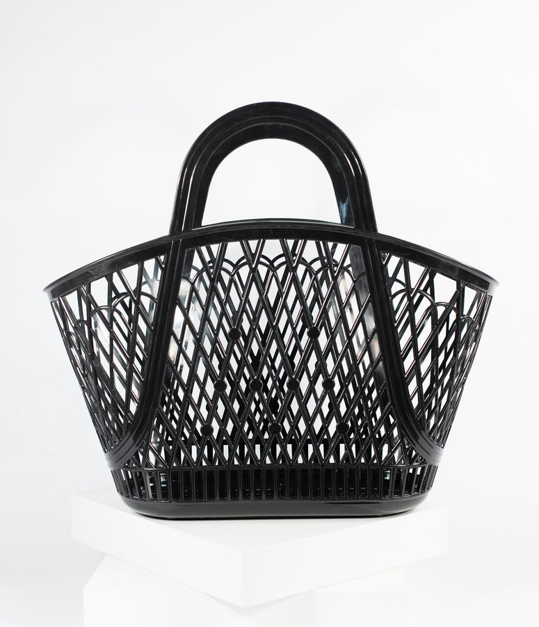 Retro Style Black Jelly Plastic Betty Basket