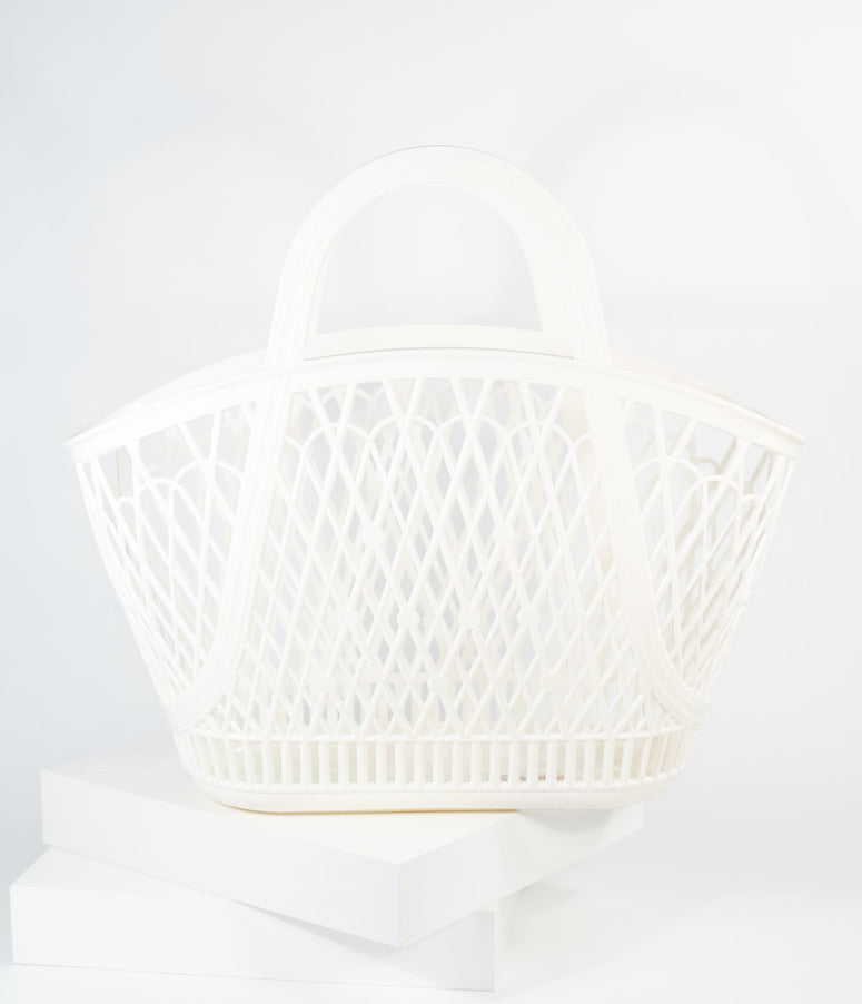 Retro Style Cream White Jelly Plastic Betty Basket