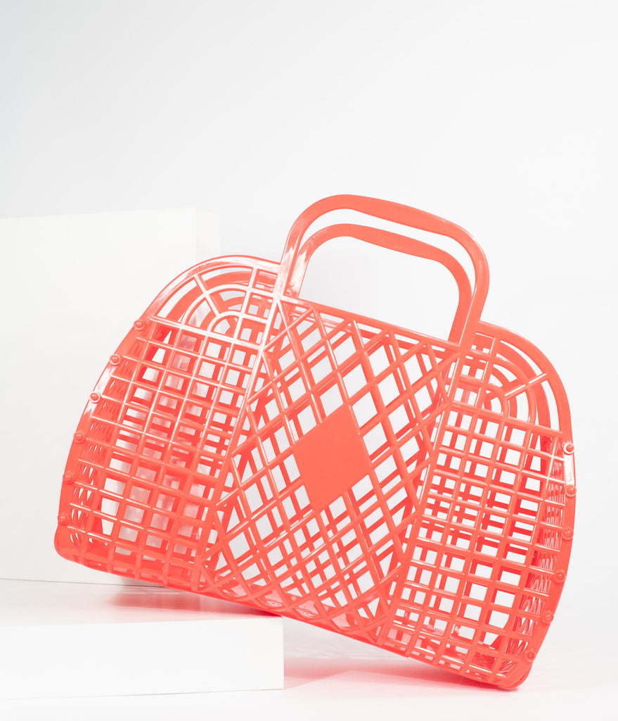 Red Retro Cutout Jelly Plastic Basket