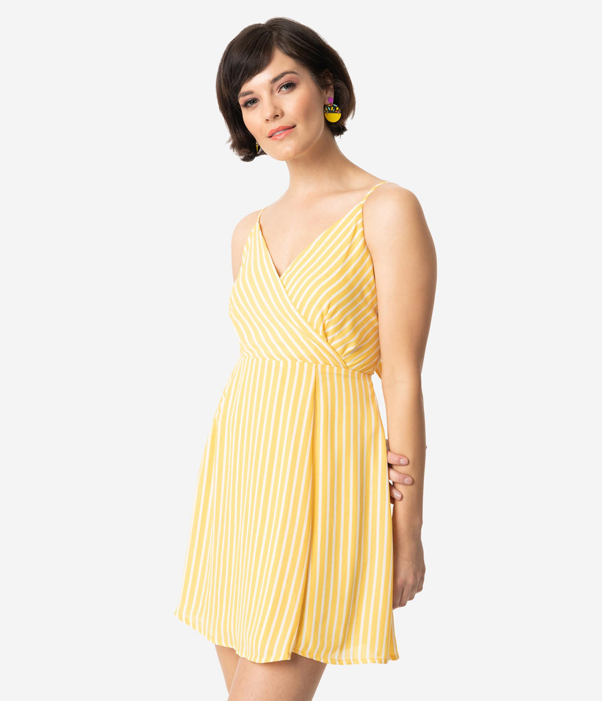 Yellow & White Striped Tie Back Mini Dress