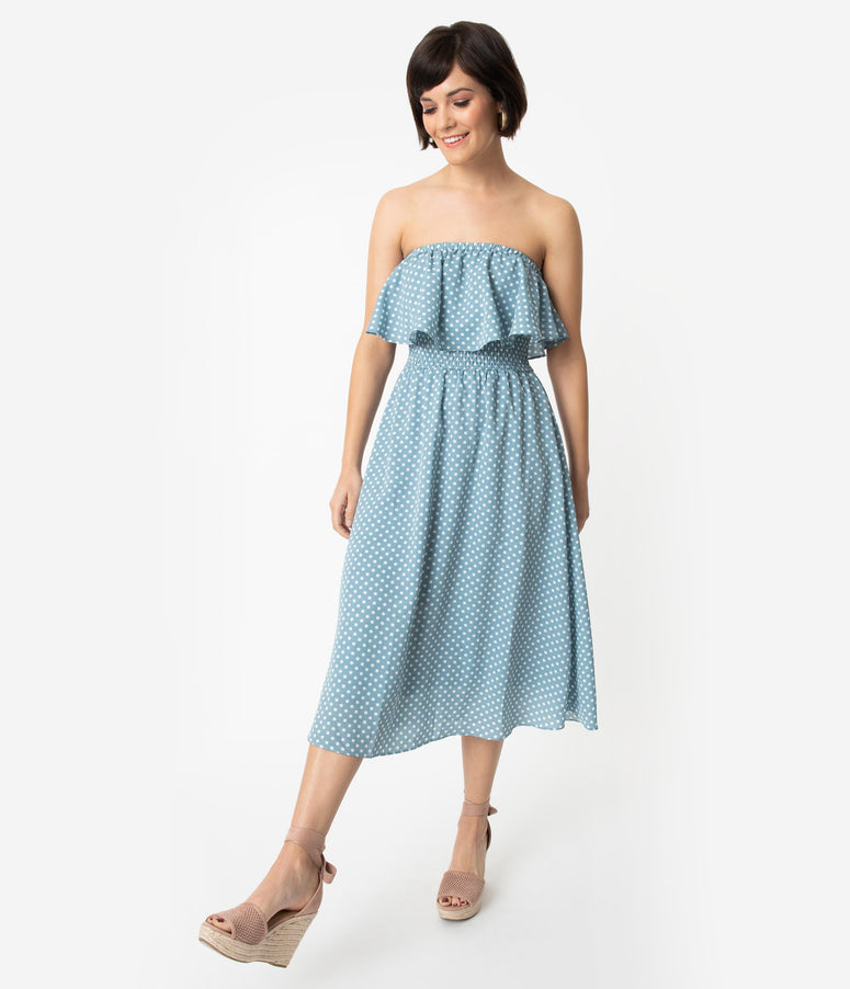 Dusty Blue & White Polka Dot Strapless Ruffle Midi Dress