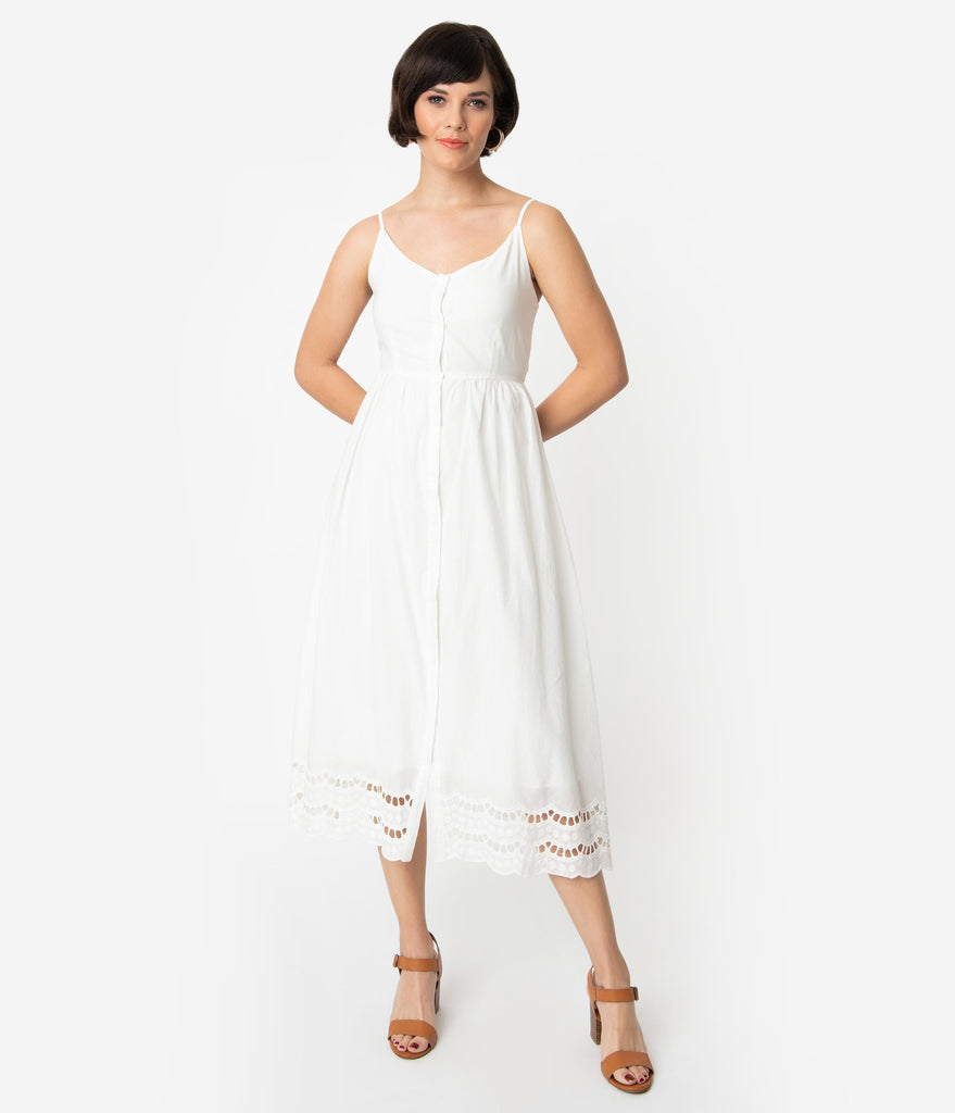 Vintage Style Off White Cotton Sleeveless Button Up Midi Dress